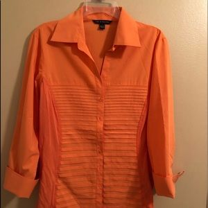 Zac & Rachel Rolled Sleeve Cotton Top Size XL